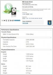 Спецификации Western Digital Caviar Green 2 Тб