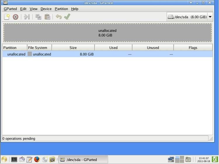 Разделение диска при помощи GParted