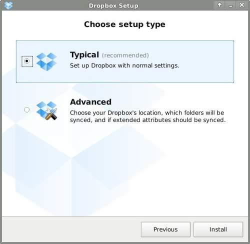 Стандартная конфигурация Dropbox
