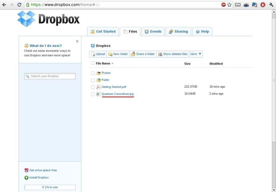 Аккаунт на Dropbox