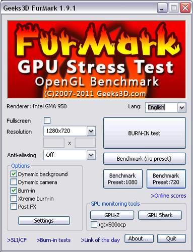 Проверка видеокарты на стабильность при помощи FurMark