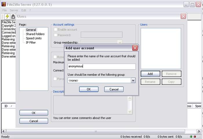Создание пользователя в FileZilla Server