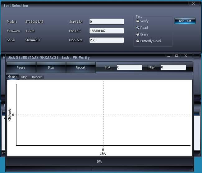 Программа HDDScan в работе