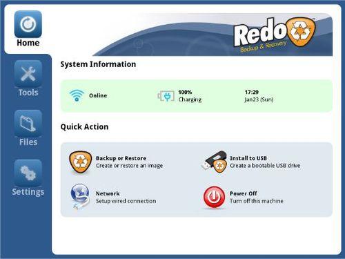 Интерфейс программы Redo Backup and Recovery
