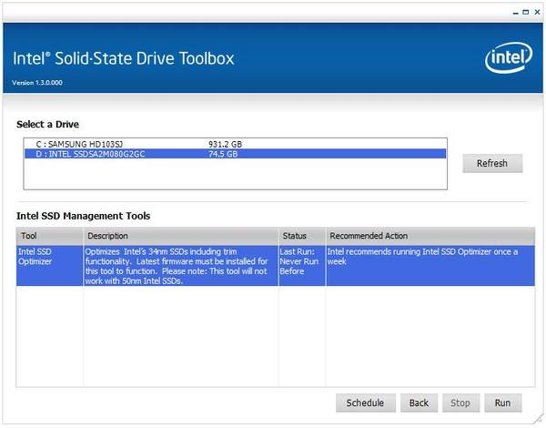Утилита Intel SSD Toolbox 3.0