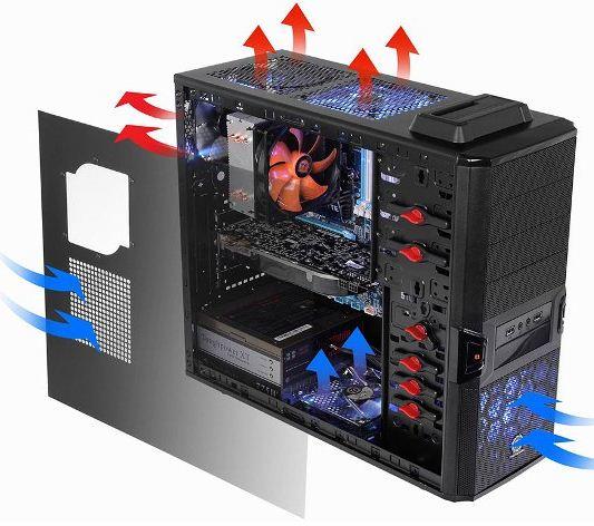 Организация охлаждения в корпусе V3 BlacX Edition
