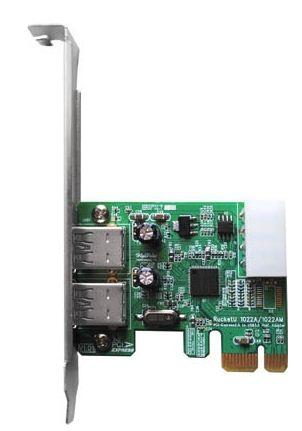 Плата HighPoint RocketU 1022A предоставляет два дополнительных порта USB 3.0