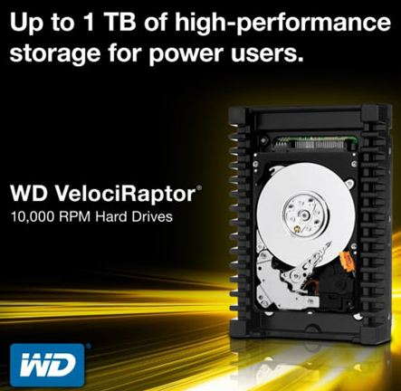 WD запустили производство жестких дисков VelociRaptor объемом 1 Тб