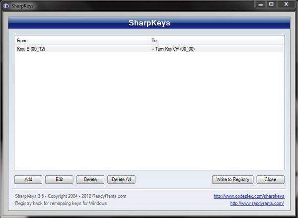 Программа SharpKeys