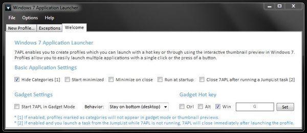 Программа Windows 7 App Launcher