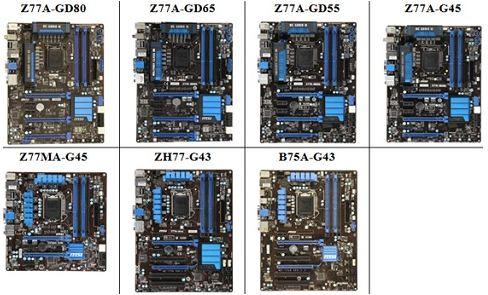 Материнские платы Microstar на чипсетах Z77, H77, B75