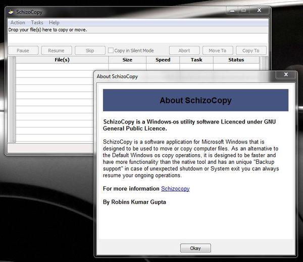 Бесплатная программа для копирования и переноса файлов SchizoCopy