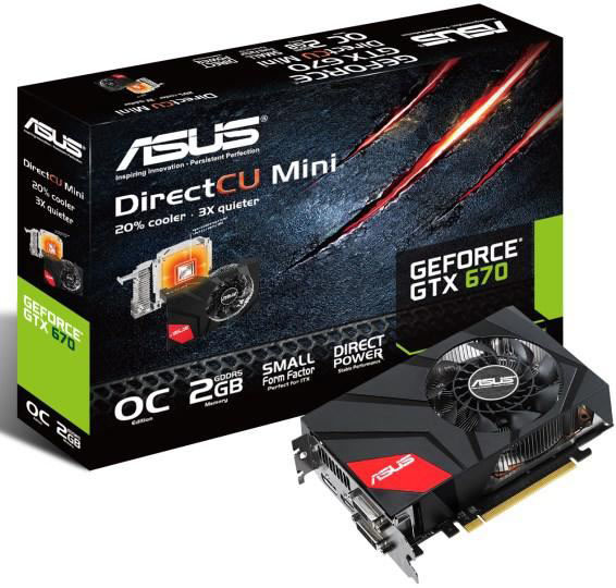 Asus выпустили видеокарту GeForce GTX 670 DirectCU Mini