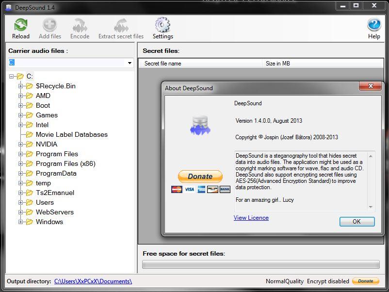 Программа DeepSound прячет в аудиофайле секретный документ