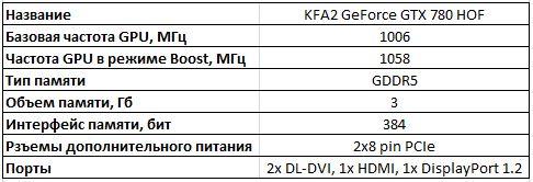 Спецификации видеокарты KFA2 GeForce GTX 780 HOF