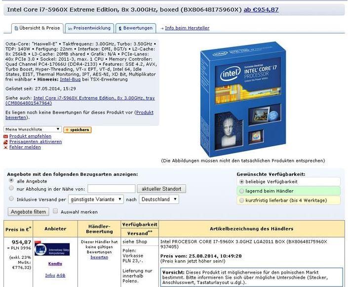 Стоимость Core i7-5960X Extreme Edition стартует с 954 евро