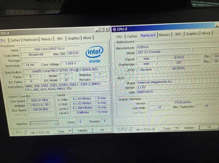 Процессор Интел Core-i7-5775C Broadwell разогнан до 5000 МГц на воздухе