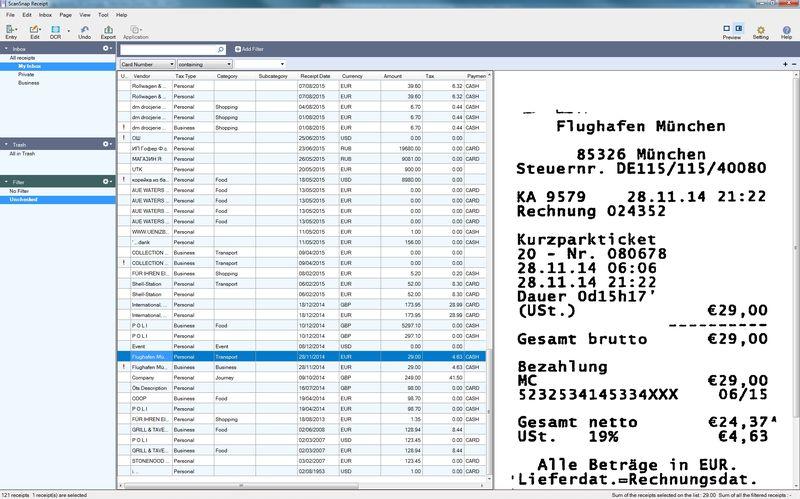 Приложение ScanSnap Receipt для владельцев сканеров Fujitsu ScanSnap