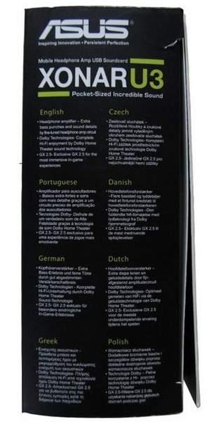 Упаковка Asus Xonar U3 - боковая сторона