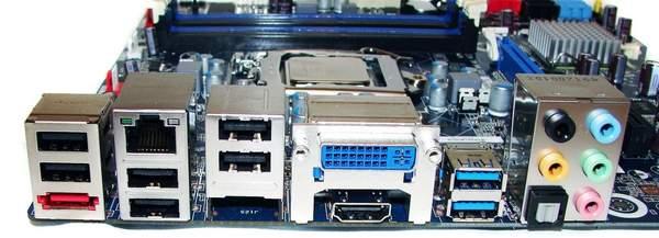 Задняя панель ввода - вывода материнской плата Intel DH67BL