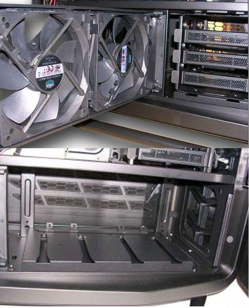В отсеке для жестких дисков можно разместить еще один радиатор СВО