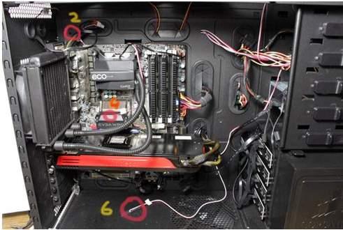 Места установки датчиков в корпусе