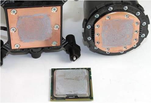 Отпечаток процессора на водоблоках
