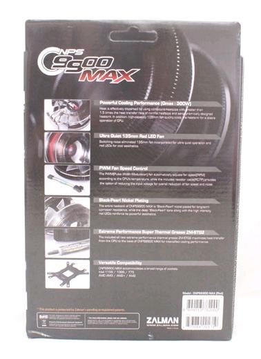 Упаковка Zalman CNPS9900 MAX - обратная сторона