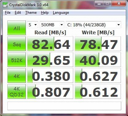 Результаты ноутбука Asus U36S в CrystalDiskMark