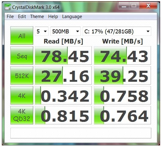 Производительность ноутбука HP EliteBook 8740w в CrystalDiskMark