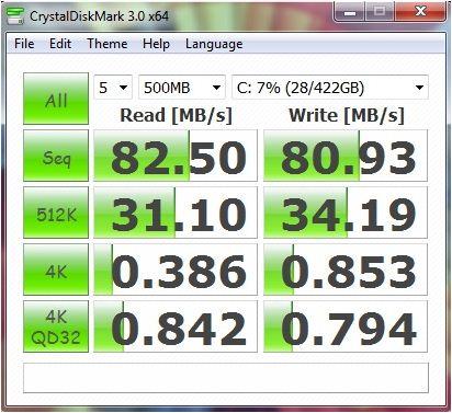 Производительность Lenovo B470 в CrystalDiskMark