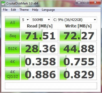 Производительность ноутбука Lenovo G570 в CrystalDiskMark