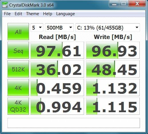 Производительность ноутбука Lenovo ThinkPad W520 в CrystalDiskMark
