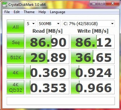 Результат Toshiba Satellite L735 в CrystalDiskMark