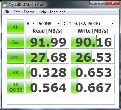 Результат Acer Ultra M3 в CrystalDiskMark