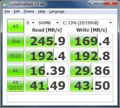 Производительность Lenovo IdeaPad U300s в CrystalDiskMark