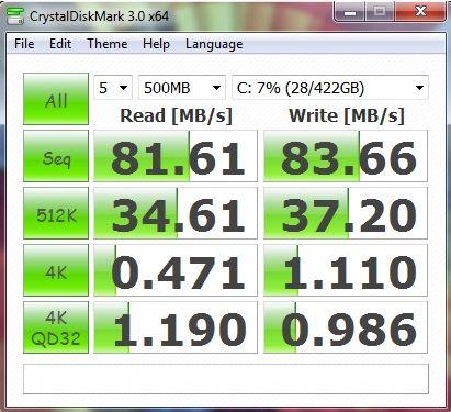 Результат Lenovo IdeaPad Y570 в CrystalDiskMark