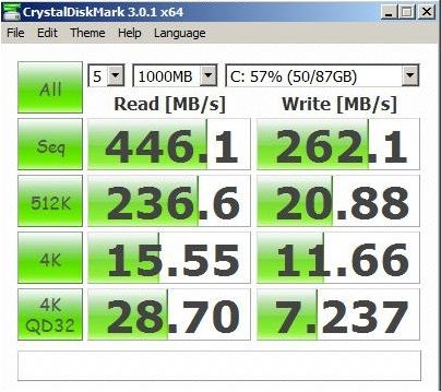 Производительность накопителя Crucial m4 mSSD