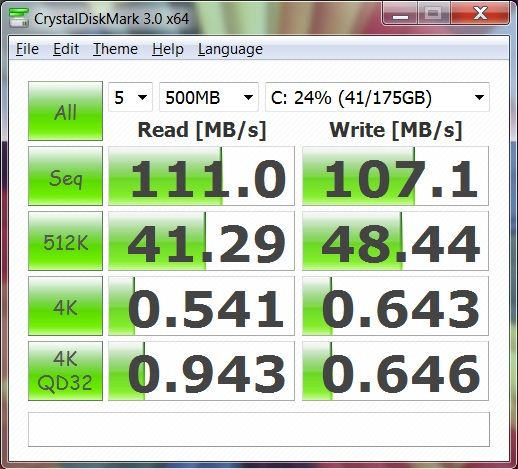 Производительность ноутбука Asus G53SW в CrystalDiskMark