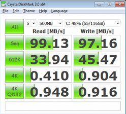 Производительность Asus G73JW-A1 в CrystalDiskMark