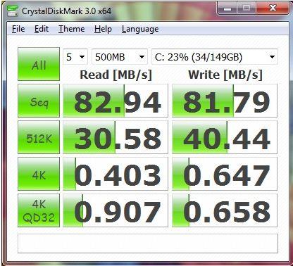Производительность Asus K53E в CrystalDiskMark