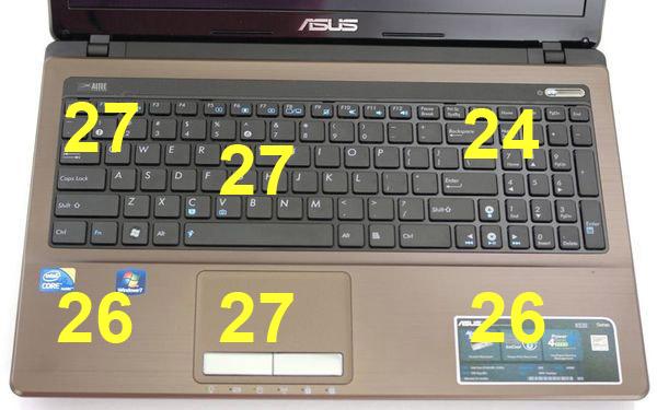 Температура на верхней поверхности ноутбука Asus K53E