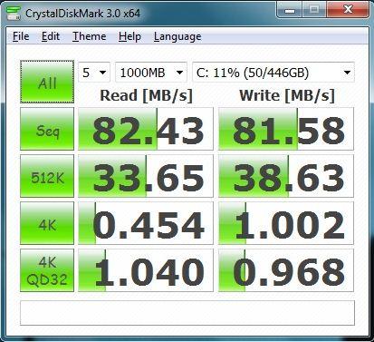 Производительность ноутбука Asus U41JF в бенчмарке CrystalDiskMark