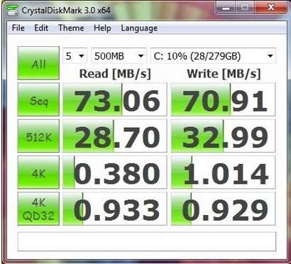 Производительность ноутбука Asus UL20FT в CrystalDiskMark