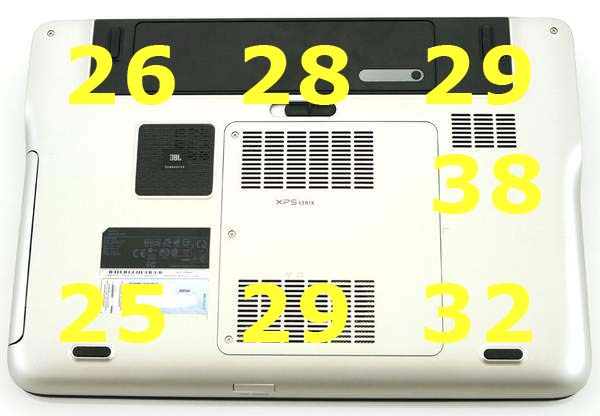 Нагрев ноутбука Dell XPS 15 - нижняя сторона