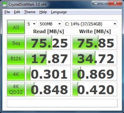 Производительность ноутбука Lenovo IdeaPad V460 в CrystalDiskMark