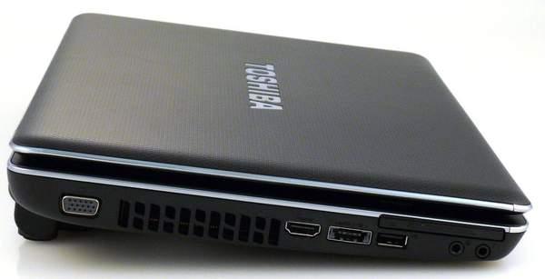 Ноутбук Toshiba Satellite U505 - вид слева