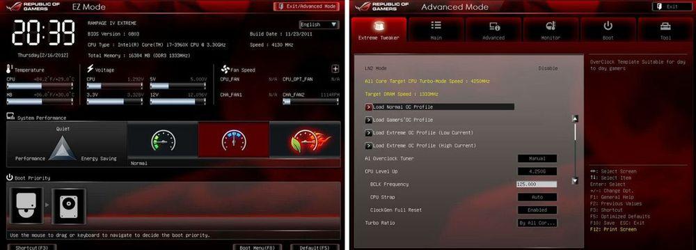 BIOS может быть представлен в двух режимах: EZ и Advanced