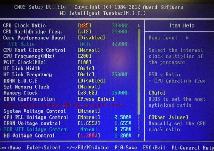 Раздел Standard CMOS Features