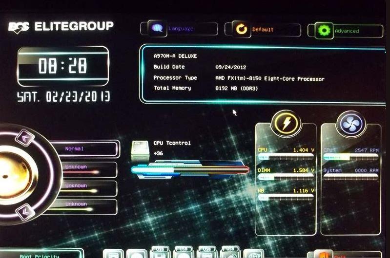 BIOS материнской платы ECS A970M-A Deluxe